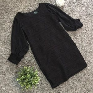 Gabby Skye Dress 12 Black Textured Sheer Sleeves